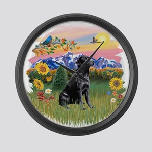Mt Country - Black Lab Large Wall Clock