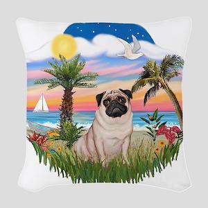 Palms - Fawn Pug 17 Woven Throw Pillow