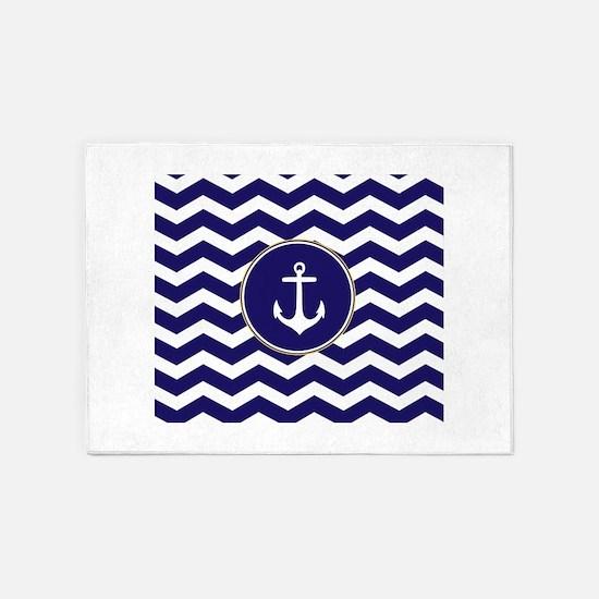 Nautical Anchor Chevron 5'x7'Area Rug