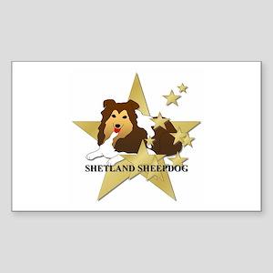 Shetland Sheepdog Stars Sticker (Rectangle)