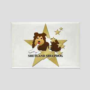 Shetland Sheepdog Stars Rectangle Magnet