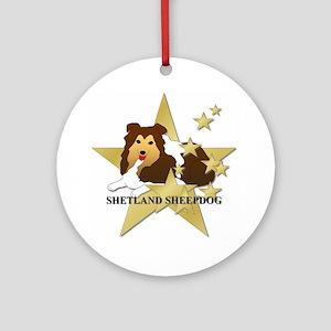 Shetland Sheepdog Stars Ornament (Round)