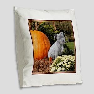 Halloween pitbull puppy Burlap Throw Pillow