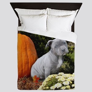 Halloween pitbull puppy Queen Duvet