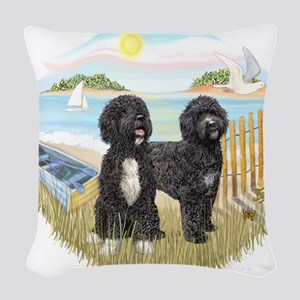 RowBoat-TwoblackPWD Woven Throw Pillow