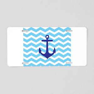 Light blue anchor chevron Aluminum License Plate