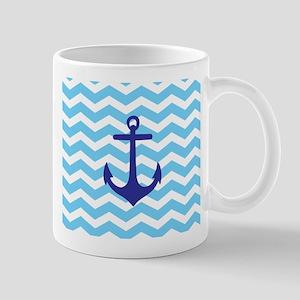 Light blue anchor chevron Mugs