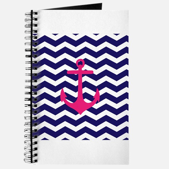 Hot pink anchor blue chevron Journal