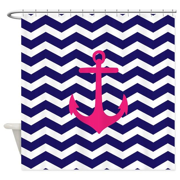 Hot Pink Anchor Blue Chevron Shower Curtain By Admincp49789583