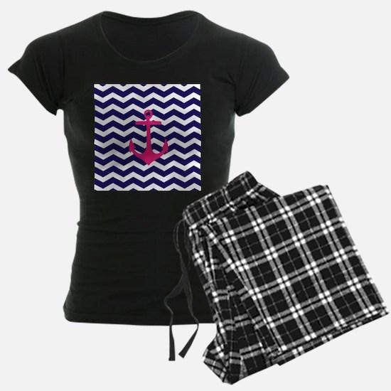 Hot pink anchor blue chevron pajamas