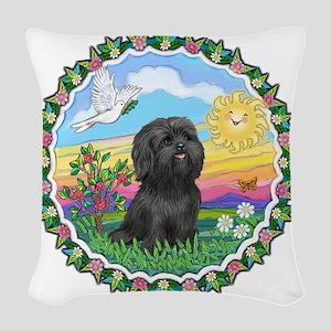 Wreath1-Black Shih Tzu Woven Throw Pillow