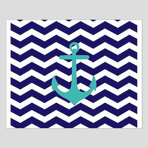 Blue Anchor Chevron Poster Design