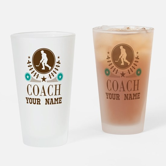 Ice Hockey Coach Personalized Drinking Glass