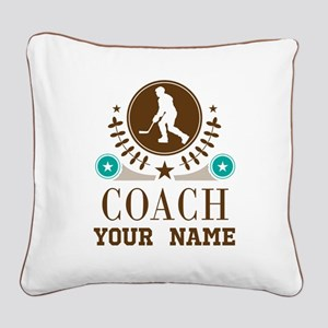 Ice Hockey Coach Personalized Square Canvas Pillow