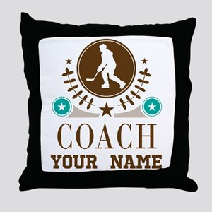 Ice Hockey Coach Personalized Throw Pillow