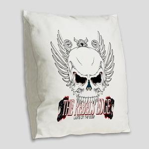 Rebel Skull Wings Burlap Throw Pillow