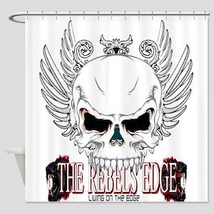 Rebel Skull Wings Shower Curtain
