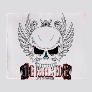 Rebel Skull Wings Throw Blanket