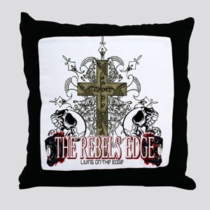 Rebels Edge Skull Cross 2 Throw Pillow