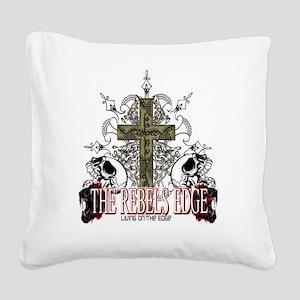Rebels Edge Skull Cross 2 Square Canvas Pillow