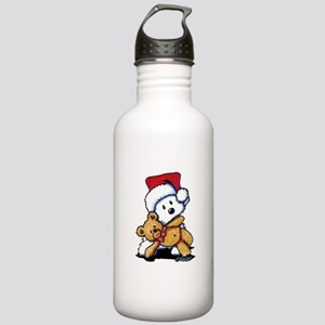 Christmas Teddy Bear Westie Stainless Water Bottle
