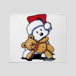 Christmas Teddy Bear Westie Throw Blanket