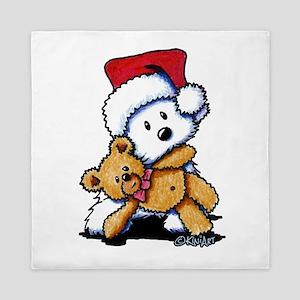 Christmas Teddy Bear Westie Queen Duvet