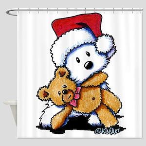 Christmas Teddy Bear Westie Shower Curtain