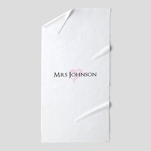 Own name Mr and Mrs set - Heart Mrs Beach Towel
