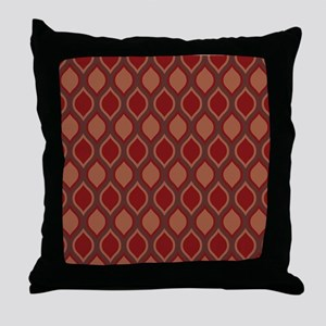 Red Wavy Lattice Pattern Throw Pillow