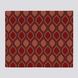Red Wavy Lattice Pattern Throw Blanket
