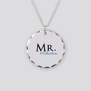 Your name Mr and Mrs set - Mr Necklace Circle Char