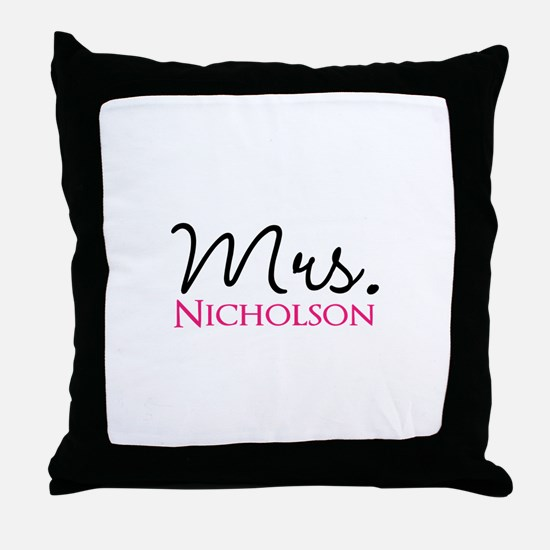 Customizable Mr and Mrs set - Mrs Throw Pillow