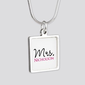 Customizable Name Mrs Silver Square Necklace