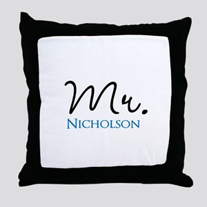 Customizable Mr and Mrs set - Mr Throw Pillow