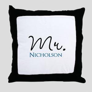 Customizable Mr and Mrs set - Mr Throw Pillow