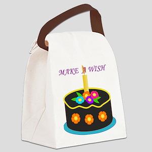 MAKE A WISH HAPPY BIRTHDAY CAKE Canvas Lunch Bag