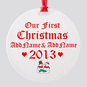 Our First Christmas 2014 Round Ornament