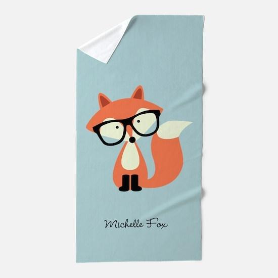 Hipster Red Fox Beach Towel