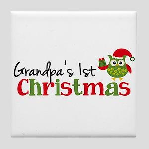 Grandpa's 1st Christmas Owl Tile Coaster