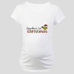 Grandma's 1st Christmas Owl Maternity T-Shirt