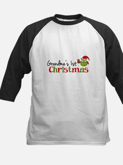 Grandma's 1st Christmas Owl Kids Baseball Jersey