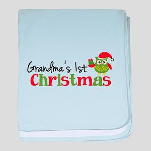 Grandma's 1st Christmas Owl baby blanket