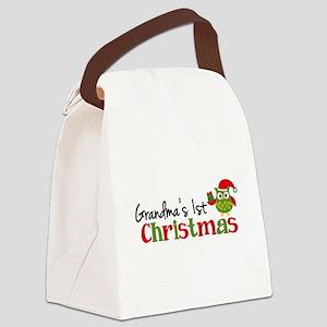Grandma's 1st Christmas Owl Canvas Lunch Bag