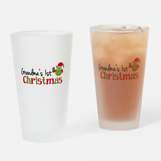 Grandma's 1st Christmas Owl Drinking Glass
