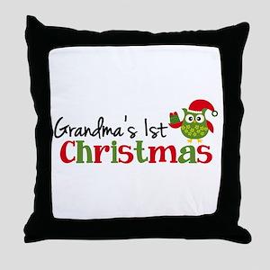 Grandma's 1st Christmas Owl Throw Pillow