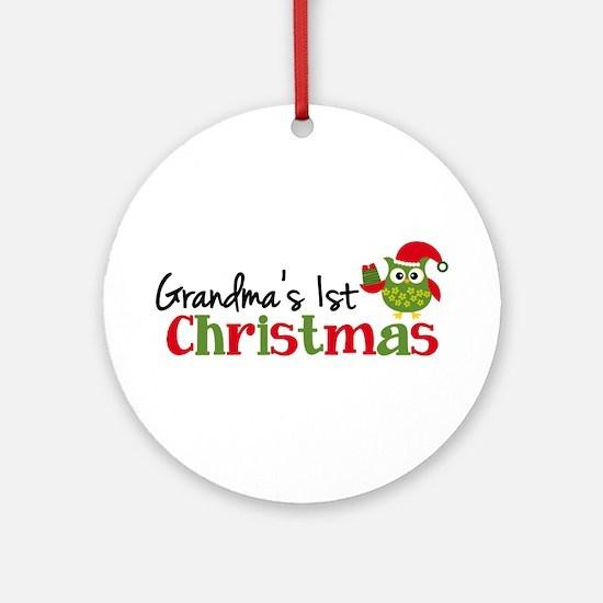 Grandma's 1st Christmas Owl Ornament (Round)