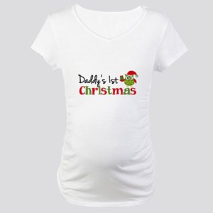 Daddy's 1st Christmas Owl Maternity T-Shirt