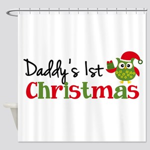 Daddy's 1st Christmas Owl Shower Curtain