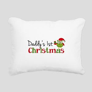 Daddy's 1st Christmas Owl Rectangular Canvas Pillo